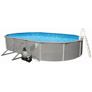 15'x30' Oval Above Ground Pool w/ Liner, Ladder, Pump and Filter Swim Time Above Ground Pools