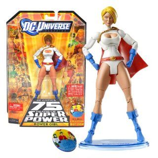 "Mattel Year 2009 DC Universe ""DC Comics 75 Years of Super Power"" Classics All Star Series 6 Inch Tall Action Figure #6   POWER GIRL with Figure Display Stand Plus Collector Button (R5776) Toys & Games"