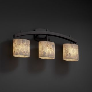 3 light Arch Alabaster Rocks Dark Bronze Bath Bar Fixture Sconces & Vanities