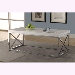 Glossy White/ Chrome Metal Cocktail Table Coffee, Sofa & End Tables