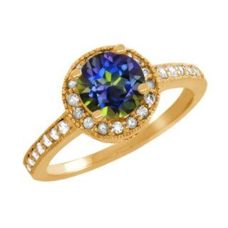 1.10 Ct Round Blue Mystic Topaz Sapphire Gold Plated Sterling Silver Ring Jewelry