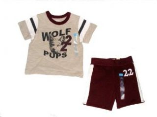 Children's Place Wolf Pup Theme Shorts Set   Baby Boy Size (18 Months) Clothing