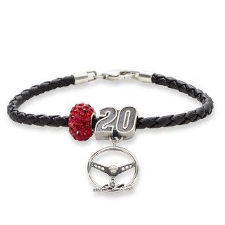 #20 Matt Kenseth Sterling Silver Dark Red Crystal Driver Number & Signature Steering Wheel Leather Bracelet Jewelry