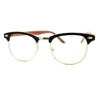 Round Horn Rim Clear Lens Glasses Black+Cool Teal Keyhole Eyeglasses Frame Clothing