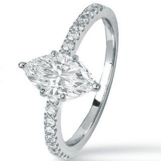 0.74 Carat Marquise Cut / Shape 14K White Gold Classic Side Stone Prong Set Diamond Engagement Ring ( D E Color , SI2 Clarity ) Jewelry