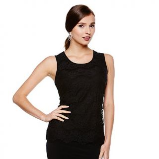 CARMEN Carmen Marc Valvo Stretch Lace Tank Top