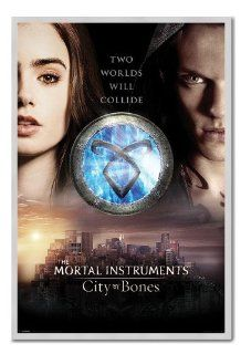 The Mortal Instruments City Of Bones Two Worlds Poster Silver Framed & Satin Matt Laminated   96.5 x 66 cms (Approx 38 x 26 inches)   Prints