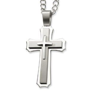 Stainless Steel Cross Pendant 24in Necklace Jewelry