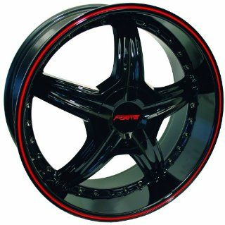 18x8 Forte Redrum Black w/ Red Stripe Wheel Rim 5x112 5x120 +45mm Offset 73.1mm Hub Bore Automotive
