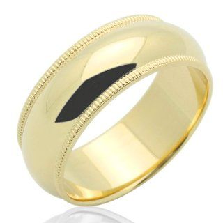 14K Gold Wedding Band Women's 7MM Milgrain Comfort Fit Band Yellow Gold Ring For Size 6 Jewelry