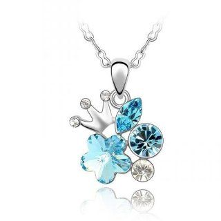 Swarovski Crystal 18k Gold Plated Aquamarine Shinning Corolla Necklace Z#1613 Zg4ee1a8 Jewelry