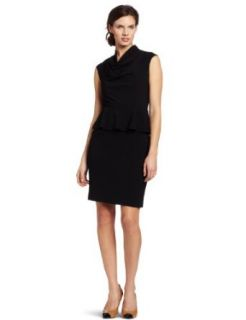 Calvin Klein Women's Peplum Sleeveless Dress, Black, 12