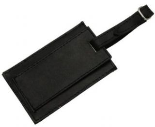 Genuine Black Leather Luggage Label Tag Holder Cover Clothing