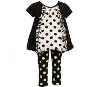 Bonnie Jean Girls Mixed Dot Bubble Dress Outfit Set , Black / White , 2T Clothing