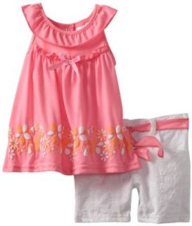 Nannette Baby girls Infant 2 Piece Knit Shirt and Woven Short Set, Pink, 18 Months Clothing