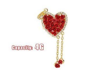 JMC104 4GB Heart Shaped Rose USB Flash Drive with Jewelry Surface (Red) + Worldwide free shiping Electronics