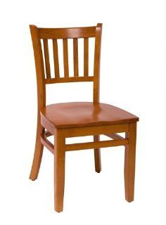 BFM Seating LWB102CHCHW Delran Cherry Wood Slat Back Chair with Wood Seat, Black, Cherry, Mahogany   Dining Chairs