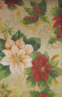 "60"" X 102"" Oblong Holly Poinsettia Ribbon Christmas Fabric Tablecloth"