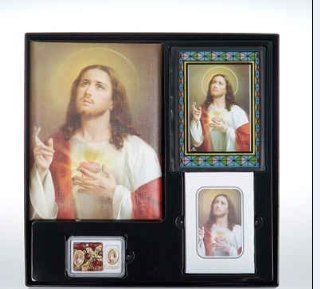 Sacred Heart of Jesus Cristo Series Memorial Package Includes Register Book, Book Mark, Crystal Rosary, Prayer Plaque, 50 Acknowledgement Cards, & 104 Memorial Prayer Cards Cromo Nb Artwork   Milan, Italy