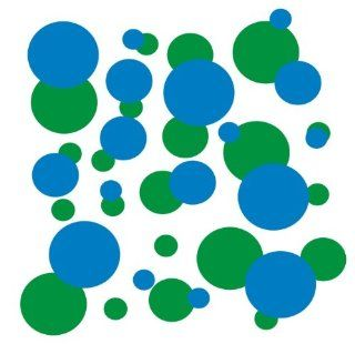 set of 106 Blue and Forest Green polka dots Vinyl wall lettering stickers quotes and sayings home art decor kit peel stick mural graphic appliques decal   Wall Banners