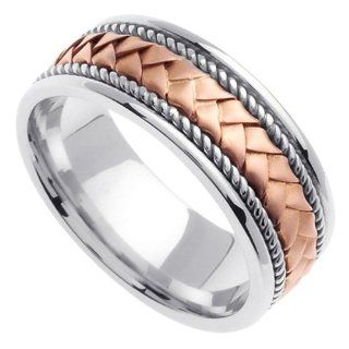 Two Tone Braided Wedding Ring for Women (8mm) Jewelry