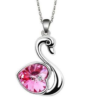 "Swarovski Elements Pink Swan Pendant Necklace 18"" CN3398 Jewelry"
