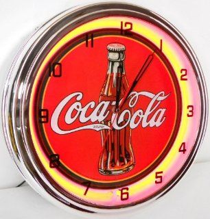 "Coca Cola 15"" Neon Wall Clock Lighted Sign Soda Pop Shop Coke Bottle Logo Vintage Retro Style Red"