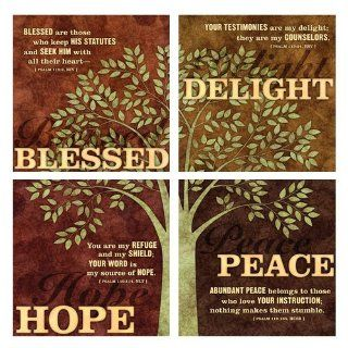 Blessed Delight Hope Peace Psalm Tree Art Four Piece Framed Canvas Set LCP   Prints