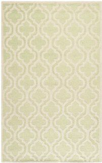 Safavieh Cambridge Collection CAM132B Handmade Wool Area Rug, 5 by 8 Feet, Light Green and Ivory