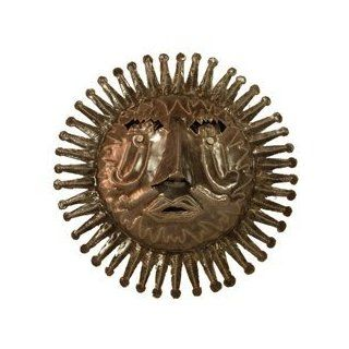 Global Crafts HCCAJ133 534004 Haitian Metal Sun Face Wall Hanging  Oil Drum Art   Wall Sculptures