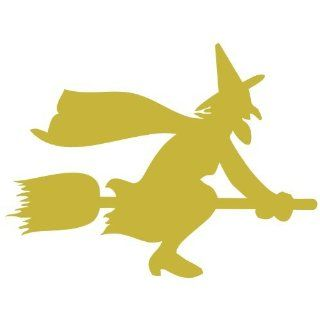 "ThatVinylPlace Metalic Gold Witch On Broomstick, Cauldron Vinyl Sticker, Decal Vinyl, Car Window, Bedroom, Wall ( 20Cm Height Or 8"" ) Home & Kitchen"