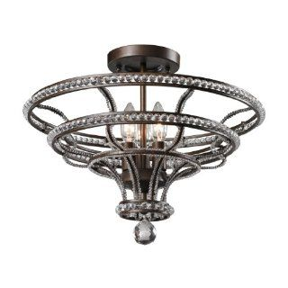 Elk Lighting 31202/4 4 Light Semi flush Ceiling Fixture from the Channette Collection, Mocha