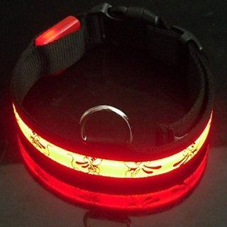 9Protecollar   Adjustable Nylon Cartoon Dog Night Safety LED Dog Collar (Red, Size 40 50 cm)