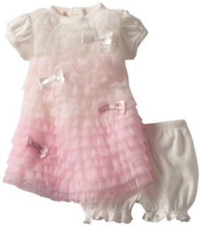 Biscotti Baby girls Newborn Feeling Frilly Baby Dress & Bloomer, Ivory/Pink, 9 Months Clothing