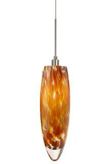 Stone Lighting PD151AMSNL5M Pendant, Satin Nickel Finish with Mouth Blown Murano Glass and Crystaline Tip Shades   Ceiling Pendant Fixtures