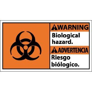 "NMC WBA1R Bilingual OSHA Sign, Legend ""WARNING   Biological hazard"" with Graphic, 18"" Length x 10"" Height, Rigid Plastic, Black/White on Orange"