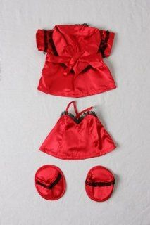 "Red Silk Nightie w/Robe & Slippers Pajamas Outfit Teddy Bear Clothes Fits Most 14""   18"" Build A Bear, Vermont Teddy Bears, and Make Your Own Stuffed Animals Toys & Games"