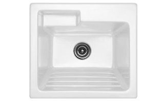 "Advantage Series Westerly 25"" x 22"" Self Rimming Laundry Sink Finish White, Faucet Drillings Single Hole"