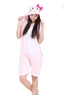 Pink Adult Hello Kitty Costume Summer Cotton Hooded Sleepwear Cute Animal Onesie Pajamas (M(For Height 158 168cm)) Beauty