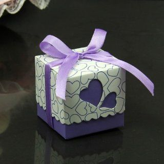 Autofor Hollow Out Love Heart Bowknot Pattern Die Cut DIY Square Wedding Bridal Favor Candy Gift Boxes Box Wedding Party Decoration Kit 50 Pcs   Including Satin Ribbon (Purple) Kitchen & Dining