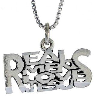 Sterling Silver REAL MEN LOVE JESUS Word Necklace, w/ 18 inch Box Chain Jewelry