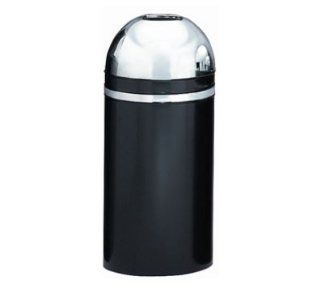 Witt Industries 415DT 22 15 Gallon Indoor Trash Can w/ Open Dome Top, Black & Chrome Accent, Each   Waste Bins