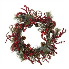 24 Round Assorted Berry Wreath   Artificial Christmas Wreath   Decorated Christmas Wreath