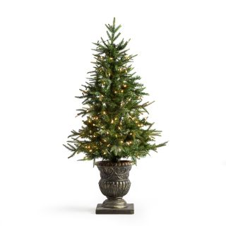 Natural Cut Little Rock Fir Potted Pre Lit Christmas Tree   Christmas Trees