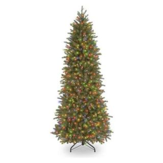 7.5 ft. Feel Real Jersey Fraser Pencil Slim Fir Hinged Pre Lit Christmas Tree   Multi Colored   Christmas Trees