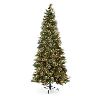 7.5 ft. Glittery Gold Pine Pre Lit Slim Christmas Tree   Artificial Christmas Trees