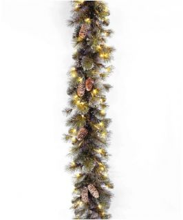 9 ft. Glitter Pine Pre Lit Garland with Pine Cones   Christmas Garland