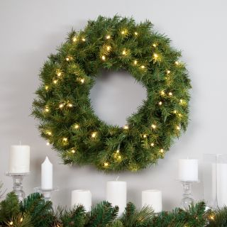 Norwood 24 Inch Battery Operated Pre Lit LED White Light Wreath   Christmas Wreaths