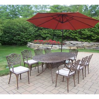 Oakland Living Mississippi Cast Aluminum 82 x 42 in. Oval Patio Dining Set with Cushions and Cantilever Umbrella   Patio Dining Sets