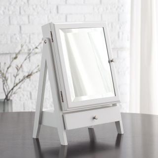 Easel Table Top Jewelry Box w/ Linen Lining   White   11W x 16.3H in.   Womens Jewelry Boxes